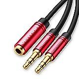 Vention 3,5-mm-Aux-Y-Splitter 2-Klinke-Stecker auf eine weibliche Kopfhörer-Mikrofon-Audio-Adapter, 3 polige Buchse auf 2 männliche Headset-Splitter-Adapterkabel für Gaming-Kopfhörer (1m)