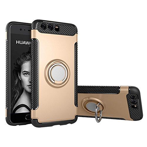 BLUGUL Huawei P10 Hülle, 360 Grad Drehender Ring-Griff, Kompatibel mit Magnet Auto Halterung, Schutzhülle Handyhülle Case Cover für Huawei P10 Gold