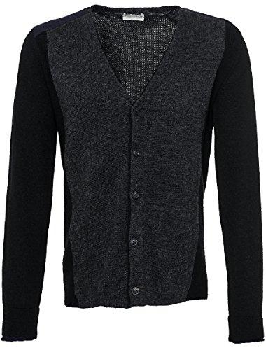 Roberto Collina da uomo in lana merino a maglia giacca antra Nero Blu Grau 54