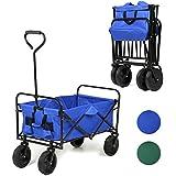 Sekey Chariot repliable Chariot pliante Brouette extérieure panier de plage Tout terrain chariot Remorque de jardin extérieur Chariot de transport