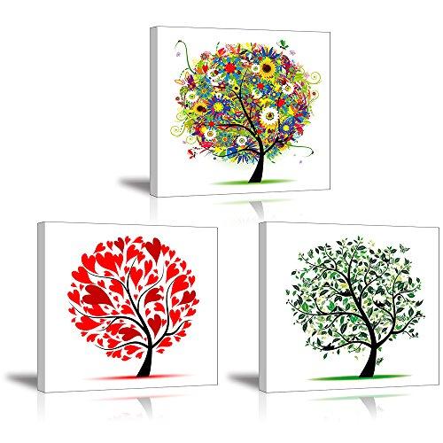 PIY Abstrakt Bäume Leinwand Wand Kunst, Herzen Blätter und Blumen Leinwand Bilder für Schlafzimmer (2,5cm Starke Rahmen, wasserdicht, fertig zum Aufhängen)