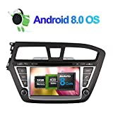 Android 8.0 Autoradio Stereo 4GB RAM GPS Navigation für Hyundai I20 2014- mit 8 Zoll Bildschirm 32GB ROM Unterstützung DVD Multimedia Player Bluetooth FM AM RDS 1080P Video WLAN Kamera Eingang