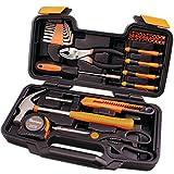Cartman Orange 39-teiliges Werkzeug-Set - Allgemeiner Haushalts-Handwerkzeug-Satz mit Plastikwerkzeugkasten-Aufbewahrungsbehälter