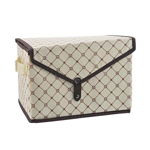mit Deckel stapelbar Cubes Stoff Container Organisatoren Schubladen mit 1Deckel Dual Griffe 38,1x 24,9x 25,9cm Brown&beige ()