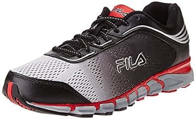 Fila Men's Turbo Fuel 2 Energized Metallic Silver, Black and Fila Red  Running Shoes -11 UK/India (45 EU)