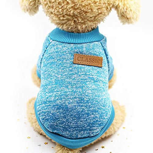 Fink_K Hundepullover, klassisch, gestrickt, für Hunde, M, blau