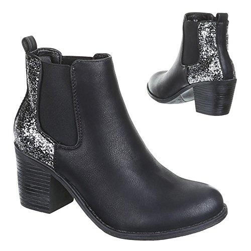 Stiefeletten Damen Schuhe Ankle Boots Heels Schwarz Camel Blau Grau Braun 36 37 38 39 40 41 Schwarz