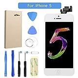 FLYLINKTECH Für iPhone 5 Display Weiß LCD Touchscreen Digitizer Ersatz Bildschirm Front Komplettes Glas mit Werkzeuge Für iPhone 5 Weiß (Für iPhone 5, Weiß)