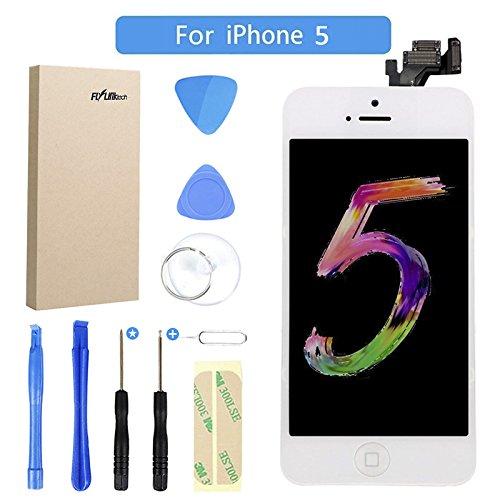 FLYLINKTECH Écran pour iPhone 5 De Remplacement Écran Tactile LCD 3D Touch Écran D'affichage Kit D'outils Complet De Réparation (pour iPhone 5, Blanc)
