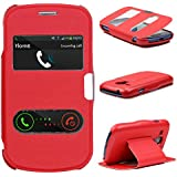 Samsung Galaxy S3 MINI Handyhülle von original Urcover® in der Double View Wallet Edition Galaxy S3 MINI Schutzhülle Case Cover Etui mit Anrufannahme Funktion Rot