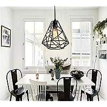 NIUYAO Lámparas de araña Forma Jaula Metal Iluminación de Techo Ajustable Estilo Loft Industrial Retro 1 Luz-Negro