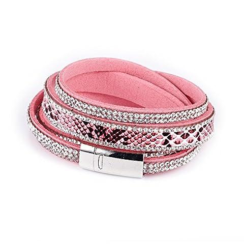 Bracelet Blue Pearls - Bracelet Double Rang Cristaux Blancs de Swarovski