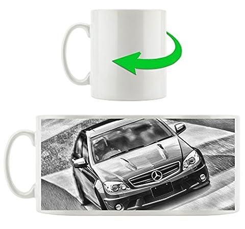 Monocrome, bleu Mercedes, Motif tasse en blanc 300ml céramique, Grande idée de cadeau pour toute occasion. Votre nouvelle tasse préférée pour le café, le thé et des boissons chaudes