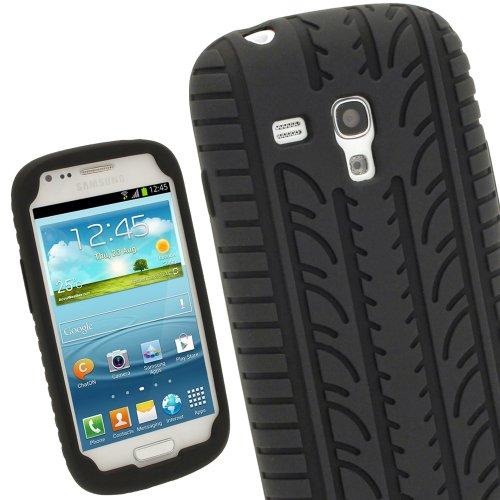 igadgitz Schwarz Silikon Skin Tasche Hülle Etui Case Cover mit Reifenprofil Reifen Profil für Samsung Galaxy S3 III Mini I8190 Android Smartphone Handy + Displayschutzfolie