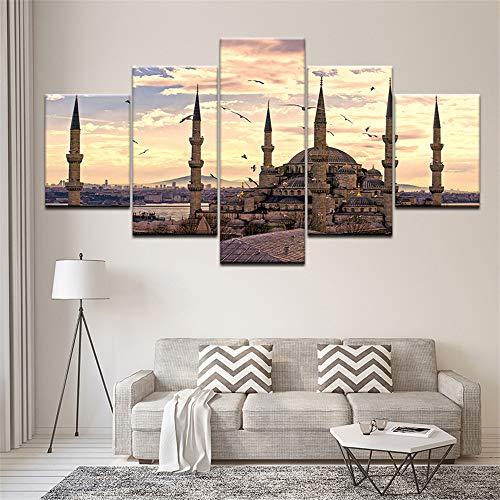 Mddrr Wandkunst Bilder Home Decor Rahmen Moderne Hd Drucke 5 Panel Islamische Moschee Schloss Malerei Allah Der Koran Leinwand Poster