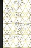 Notebook Carnet de notes Ligné: A5 - 110 pages - Marbre Blanc Motifs Géométriques Triangles Or - 110 pages, couverture souple glossy Dot point, bullet ... grid, planner, planning, organizer, journal