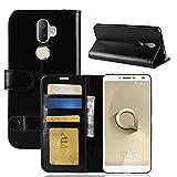 Alcatel 3V Brieftasche Flip Hülle - 2 in 1 Flip Handysocken Schutzhülle Litschi-Textur Standfunktion Tasche und - Beschützer Smartphone (Schwarz)