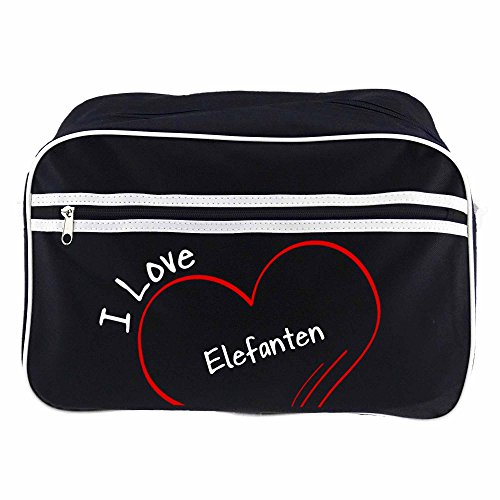 Retro bolso bandolera I Love negro con diseño de elefantes