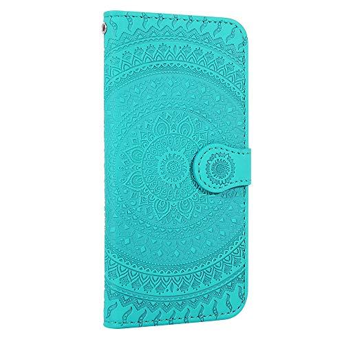 Karomenic PU Leder Hülle kompatibel mit Huawei P30 Lite Mandala Prägung Handyhülle Brieftasche Silikon TPU Bookstyle Schutzhülle Klapphülle Ledertasche Magnet Wallet Flip Case Etui,Grün