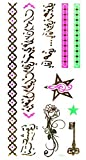 Ggsell New Design Waterproof And Non Toxic Golden Fluorescent Metallic Temporary Tattoo Flowers, Stars, Key, Jewelry Chian And Ancient Words