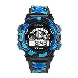 Bainuojia Jungen Digitaluhren, Kinder Sport 5 ATM Wasserdicht Digital Uhren mit Alarm/Timer/EL Licht, Kinderuhren Outdoor Armbanduhr für Jugendliche Jungen (Blue)