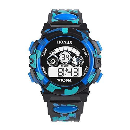 Bainuojia Jungen Digitaluhren, Kinder Sport 5 ATM wasserdicht Digital Uhren mit Alarm/Timer/EL Licht, Kinderuhren Outdoor Armbanduhr für Jugendliche Jungen (Blue) (Digital Casio Wand Uhr)