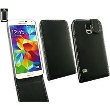 Emartbuy® Samsung Galaxy S5 Funda Flip Case Cover en Cuero PU Alta Calidad Negro con Blanco Puntadas