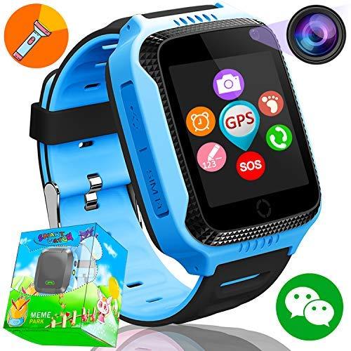 1.44'GPS Tracker Smart Watch Téléphone pour Enfants avec Podomètre Caméra SIM Appels Anti-Perdu SOS Smart Smartwatch pour Enfants Filles Garçons Anniversaire Cadeaux (Bleu01)