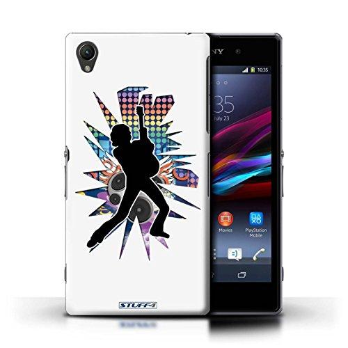 Kobalt® Imprimé Etui / Coque pour Sony Xperia Z1 / Windmill Noir conception / Série Rock Star Pose Pencher Blanc