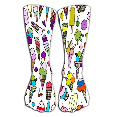 (Walnut Cake Hohe Socken Outdoor Sports Men Women High Socks Stocking Icecream Collection Your Design Abstract Tile Length 19.7