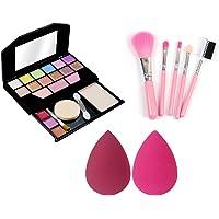 HUDA CRUSH BEAUTY Full Makeup Kit Combo For Girls, 5Pcs Make up Applicator and 2 Pcs Blender Sponge