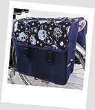 NOVELY TJ-C-28 Fahrradtasche Fietstas JENNY CLASSIC Eule Owl 1 Navy-Orange Satteltasche Gepäckträgertasche 2 x 14 Liter