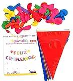Guirnalda feliz cumpleaños,bandera fiesta triángulo multiclor y