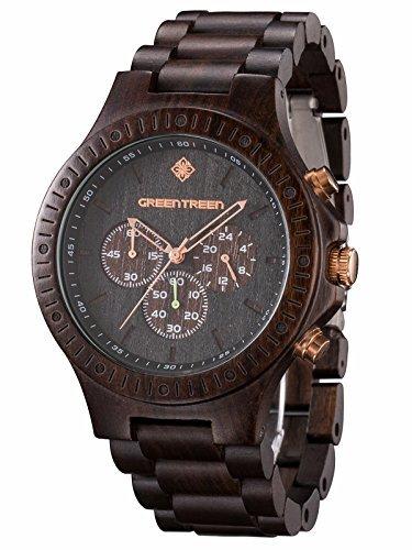 GREENTREEN Orologio ebano impermeabile multifunzione uomo cronografo legno orologi in 5ATM Resistente all'acqua