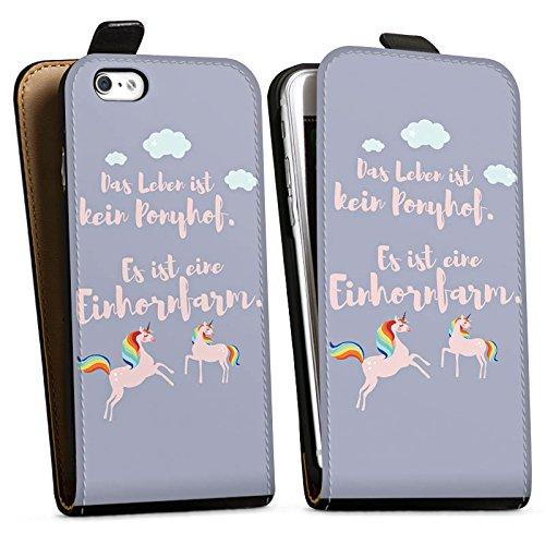 Apple iPhone X Silikon Hülle Case Schutzhülle Einhörner Spruch Ponyhof Downflip Tasche schwarz