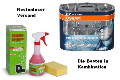 Osram Nightbreaker Plus H7 Duo Pack 2. Generation (2 Stück Glühbirnen) plus GRATIS Dr. Wack 1250 P21-S Felgen-Reiniger PowerGel 500 ml incl. LIEFERUNG FREI HAUS