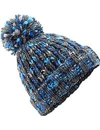 261c9e29300314 Neverless Strick-Mütze Damen Wintermütze Grobstrick Bunt Rippstrik Bommel- Mütze Pudelmütze