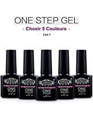 Perfect Summer Choisir 5pcs One Step Gel Vernis à Ongles Semi Permanent 3 en 1 Pas Besoin Base Top Coat