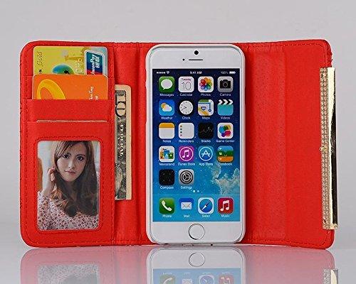 """inShang Hülle für Apple iPhone 6 Plus iPhone 6S Plus 5.5 inch iPhone 6+ iPhone 6S+ iPhone6 5.5"""", Cover Mit Modisch Klickschnalle + Errichten-in der Tasche + GRID PATTERN HANDBAG , Edles PU Leder Tasch zigzag handbag red"""