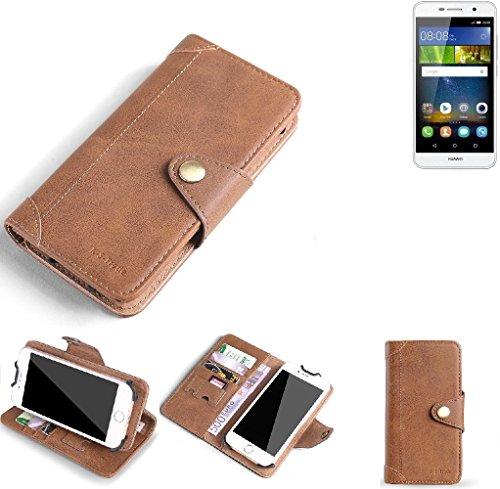 K-S-Trade Hülle für Huawei Y6Pro LTE Schutz Hülle Tasche Handyhülle Schutzhülle Handytasche Wallet case Flipcase Cover Kunstleder Braun