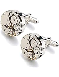 Rxbc2011 (Upgraded Version) Deluxe Steampunk Watch Mens Vintage Watch Movement Shape Cufflinks Come In An Elegant Storage Display Box