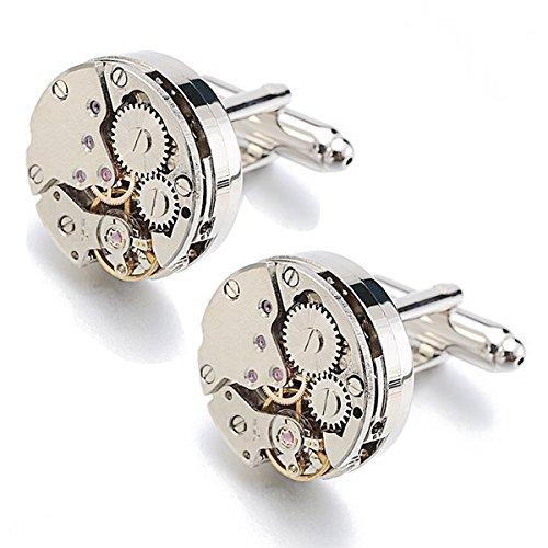 RXBC2011 Cufflinks Ein Paal Rund Herren Manschettenknöpfe Steampunk Uhrwerk Uhr Bewegung Watch Movement mit Leder Geschenk-Box