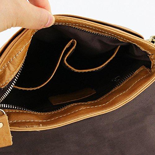 Stepack Marca Borsa a tracolla della borsa di modo del sacchetto del messaggero del cuoio genuino per gli uomini(Nero) Marrone