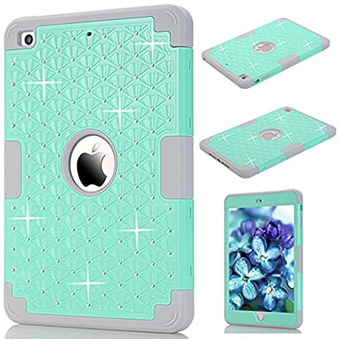 iPad Mini 1/2/3 Cover, GrandEver Dual Layer Hybrid Silicone Armor Protective Case for Apple iPad Mini 1 2 3 Full Body Tough Cover with Bling Diamond Design Silicone Bumper Outer + Hard PC Back Case Shockproof Heavy Duty Protection Shell for iPad Mini 1/2/3 --- Mint Green + Grey