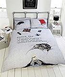 Katze Schokolade Füße Lazy Day Grau Schwarz Rot King Size (Uni Silber Grau Spannbetttuch–152x 200cm + 25) 4-teiliges Bettwäsche-Set