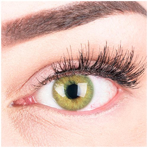 """Sehr stark deckende und natürliche grüne Kontaktlinsen SILIKON COMFORT NEUHEIT farbig \""""Jasmine Green\"""" + Behälter von GLAMLENS - 1 Paar (2 Stück) - DIA 14.00 - mit Stärke -3.00 Dioptrien"""