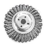 Zopf-Kegelbürste ideal zur Beseitigung von Unkraut und Wildkraut | Bürste mit 200 mm Durchmesser und 36 Zöpfen (mit Blume) | Borsten aus Stahldraht, glatt, 0,50 mm dick | Bohrung: 20 mm