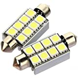 Water & Wood 2X Canbus 42mm 8 LED 5050 SMD Car C5W Dome Festoon Number Plate Light Bulb