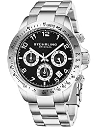 Stuhrling Original Mens Quartz Chronograph Watch Black Dial Date Tachymeter Sport Wrist Watch Solid Stainless Steel Link Bracelet Deployant Clasp 50 Meter Water Resistant Designer Watch Collection