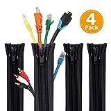Rantizon, Sistema di gestione dei cavi, manicotto da 50 cm, organizer regolabile per TV, computer, Home Entertainment, confezione da 4